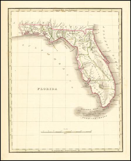 85-Florida Map By Thomas Gamaliel Bradford