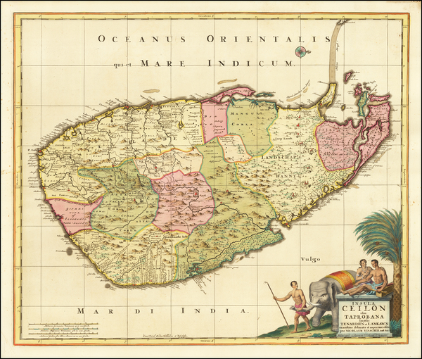 79-Sri Lanka Map By Peter Schenk / Nicolaes Visscher I