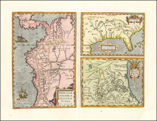 58-Florida, South, Southeast, Central America and South America Map By Abraham Ortelius