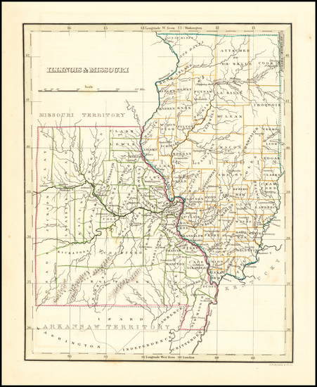 36-Midwest, Illinois, Plains and Missouri Map By Thomas Gamaliel Bradford