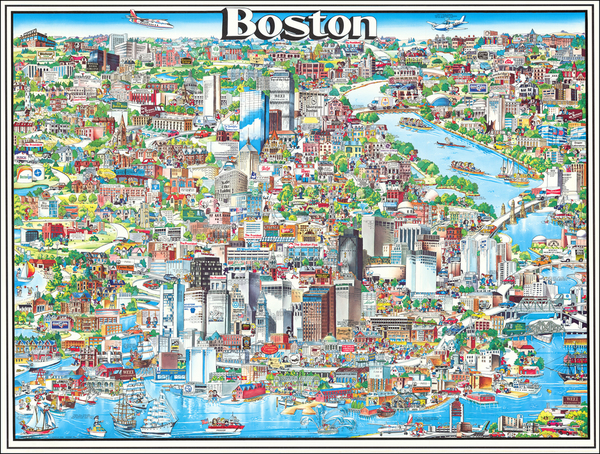 94-Pictorial Maps and Boston Map By Archar Inc.