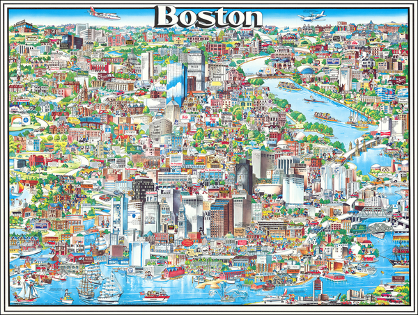 5-Pictorial Maps and Boston Map By Archar Inc.