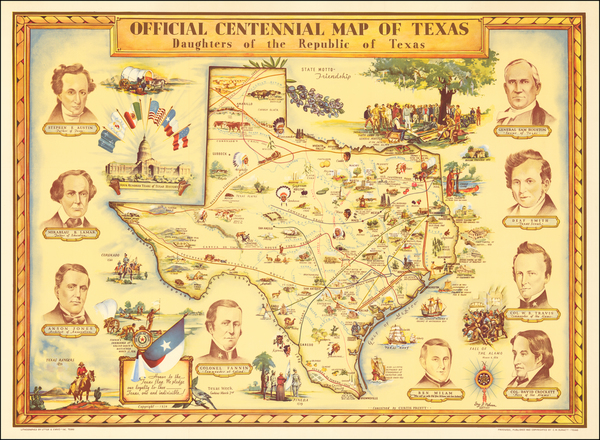 50-Texas and Pictorial Maps Map By Guy  F. Cahoon