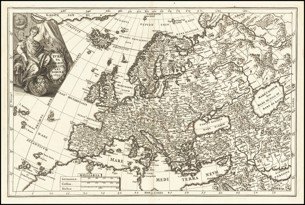 63-Europe and Iceland Map By Heinrich Scherer