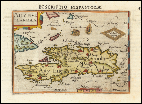 32-Hispaniola Map By Barent Langenes
