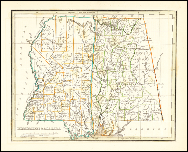 32-Alabama and Mississippi Map By Thomas Gamaliel Bradford