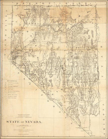 Nevada Map By General Land Office