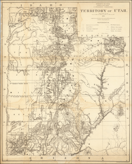 Utah and Utah Map By General Land Office
