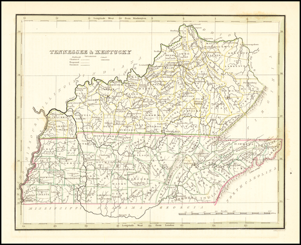 Kentucky and Tennessee Map By Thomas Gamaliel Bradford
