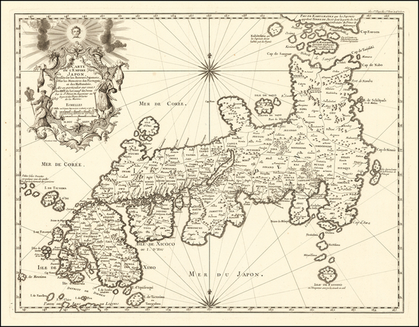 51-Japan Map By Jacques Nicolas Bellin