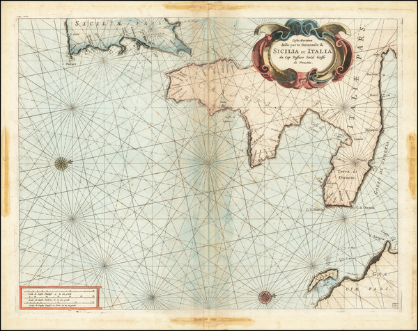 24-Southern Italy and Sicily Map By Vincenzo Maria Coronelli