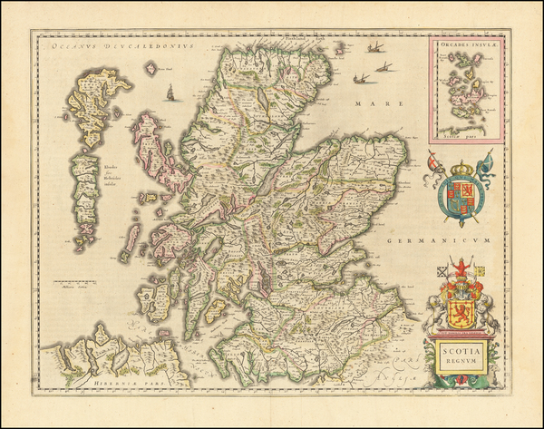 75-Scotland Map By Willem Janszoon Blaeu