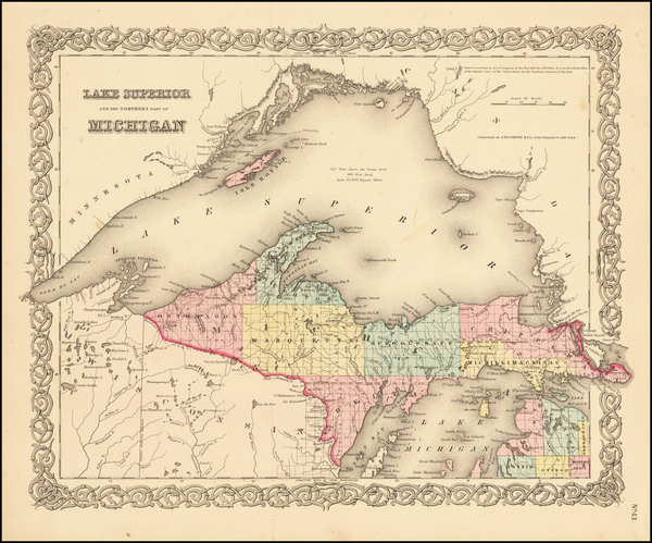 19-Michigan Map By Joseph Hutchins Colton