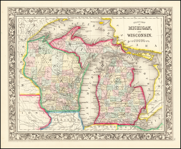 5-Michigan and Wisconsin Map By Samuel Augustus Mitchell Jr.