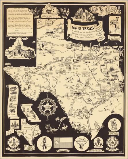 Texas and Pictorial Maps Map By Harriet Godwin  &  Milt McKenzie