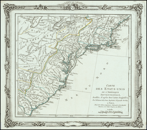 61-United States Map By Louis Brion de la Tour