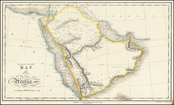 Middle East and Arabian Peninsula Map By Gall  &  Inglis