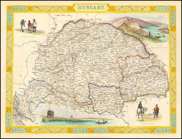 Hungary, Romania and Balkans Map By John Tallis