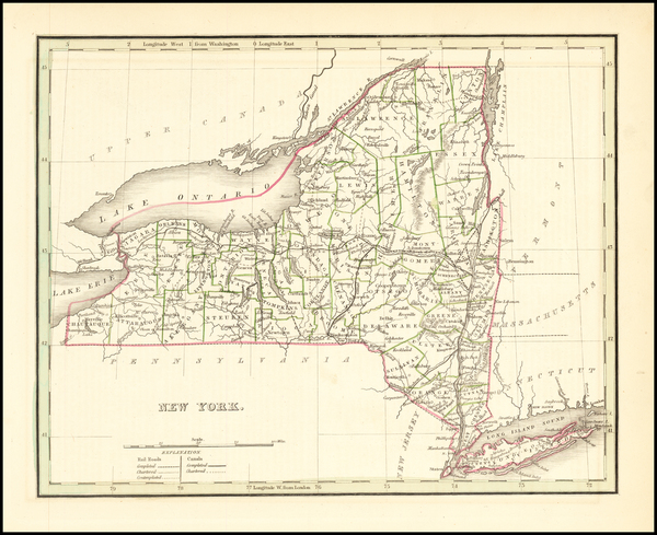 90-New York State Map By Thomas Gamaliel Bradford