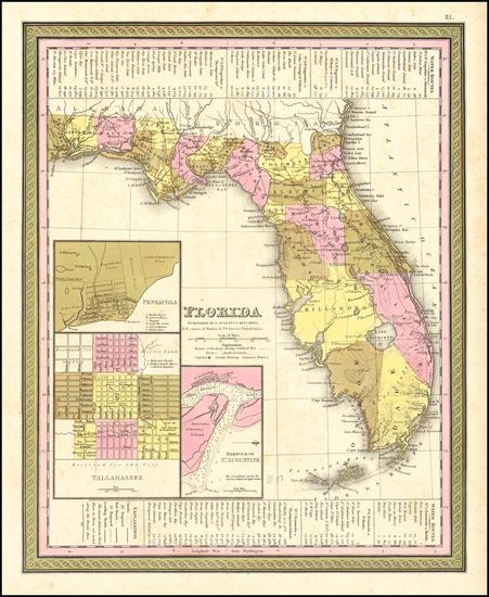 97-Florida Map By Samuel Augustus Mitchell