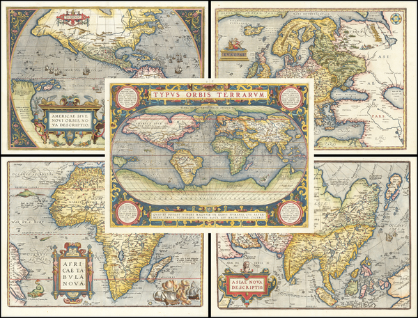 World, World, South America, Europe, Europe, Asia, Asia, Africa, Africa and America Map By Abraham Ortelius