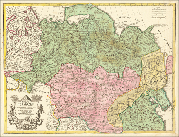 65-Ukraine, China, Central Asia & Caucasus and Russia in Asia Map By Guillaume De L'Isle