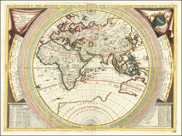 Eastern Hemisphere, Indian Ocean, Asia, Africa, Pacific and Australia Map By Vincenzo Maria Coronelli