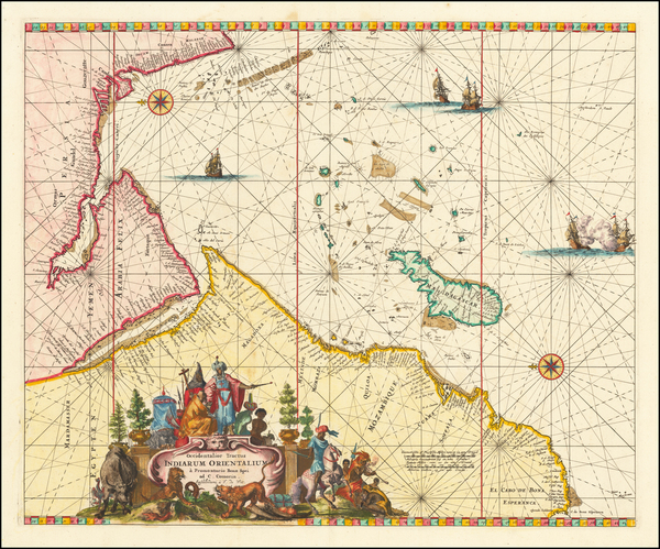 54-Indian Ocean, Middle East, South Africa and East Africa Map By Frederick De Wit