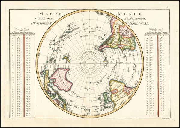 64-Southern Hemisphere, Polar Maps and Oceania Map By Rigobert Bonne
