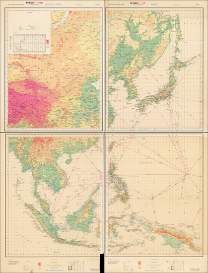 56-China, Japan, Korea, Southeast Asia, Philippines, Indonesia and World War II Map By U.S. Army