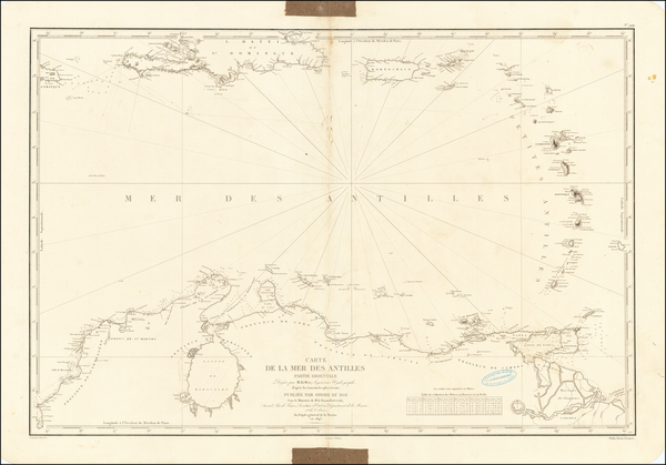 65-Caribbean and Venezuela Map By Depot de la Marine