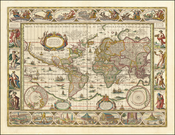 12-World and World Map By Willem Janszoon Blaeu