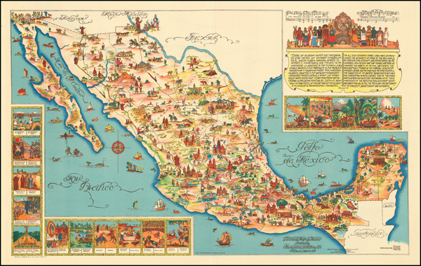 63-Mexico and Pictorial Maps Map By Fischgrund Publishing Company