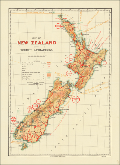 89-New Zealand Map By E.  V. Paul