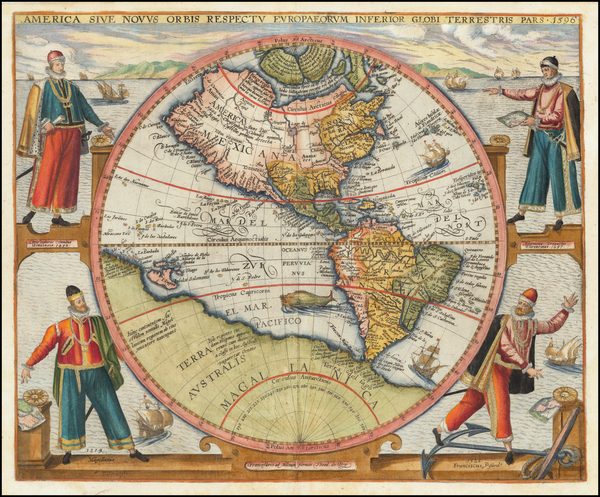 64-Western Hemisphere, North America, South America and America Map By Theodor De Bry