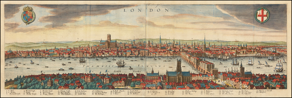 70-London Map By Matthaeus Merian