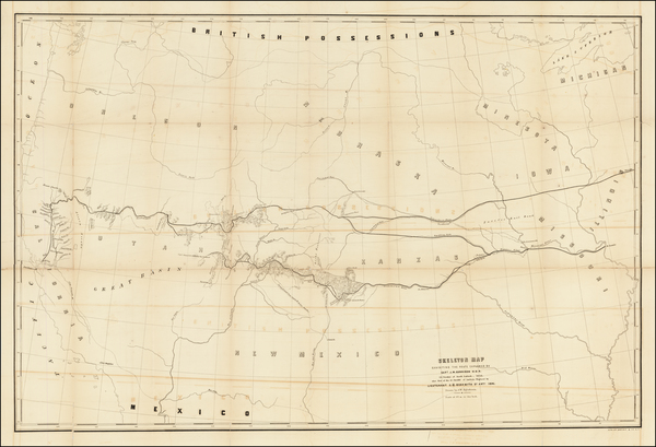Plains, Kansas, Nebraska, Colorado, Utah, Nevada, Rocky Mountains, Rocky Mountains, Colorado, Utah and California Map By U.S. Pacific RR Surveys