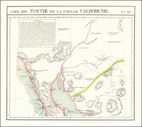 91-Arizona, Mexico, Baja California and California Map By Philippe Marie Vandermaelen