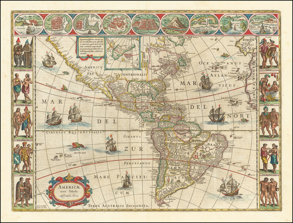 47-America Map By Willem Janszoon Blaeu