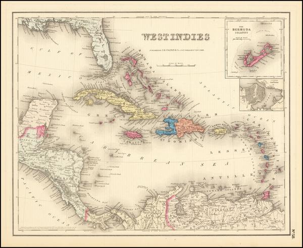 51-Caribbean and Bermuda Map By Joseph Hutchins Colton
