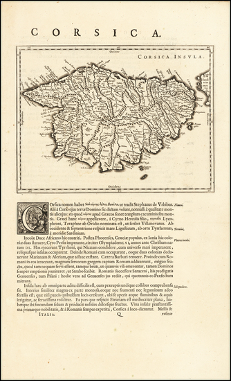 55-Corsica Map By Willem Janszoon Blaeu