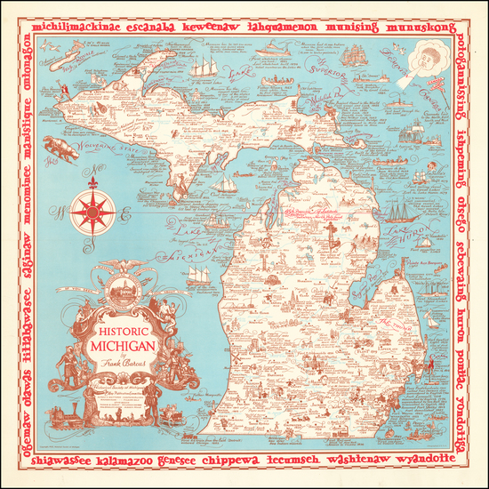 Michigan and Pictorial Maps Map By Frank Barcus