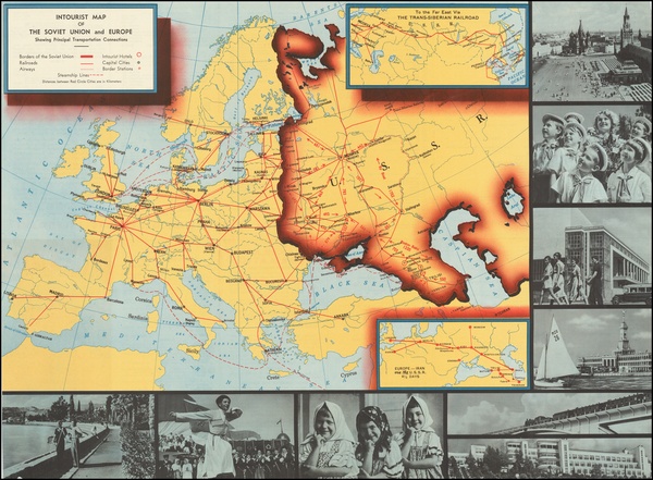 92-Europe, Russia, Pictorial Maps and Russia in Asia Map By Intourist