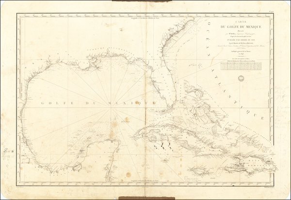64-Florida, Texas, Mexico, Caribbean, Cuba and Bahamas Map By Depot de la Marine