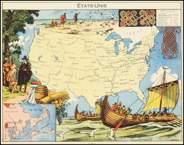 83-United States Map By Joseph Porphyre Pinchon