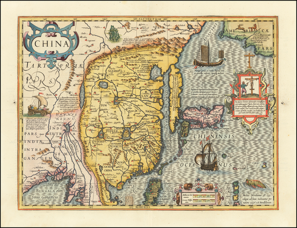 China, Japan and Korea Map By Jodocus Hondius