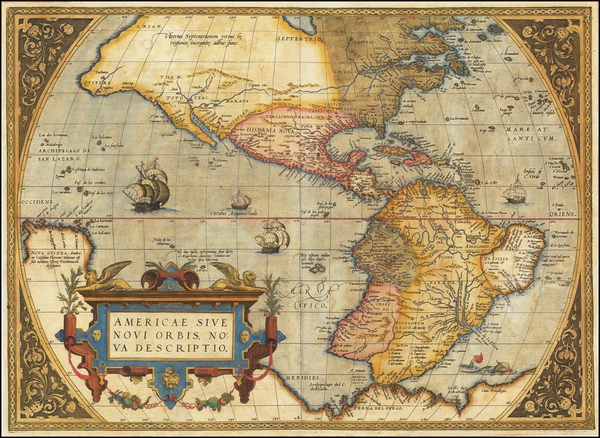 Western Hemisphere, North America, South America and America Map By Abraham Ortelius