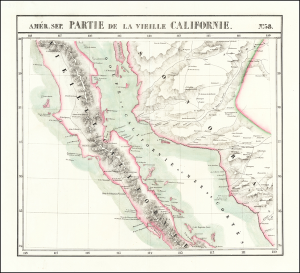 65-Baja California Map By Philippe Marie Vandermaelen