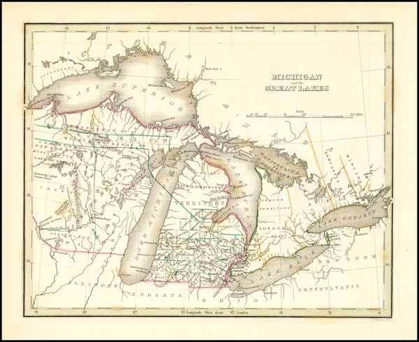 41-Midwest, Michigan, Wisconsin and Canada Map By Thomas Gamaliel Bradford
