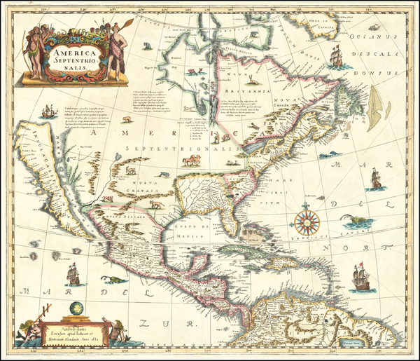 34-North America and Curiosities Map By Anonymous